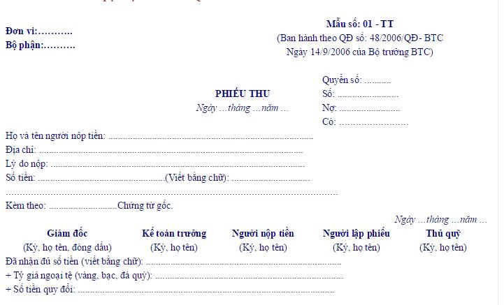 Mẫu phiếu thu được Bộ Tài chính ban hành theo đúng quy định pháp luật