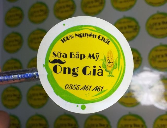 Mẫu in tem nhãn decal giấy sữa bắp Mỹ