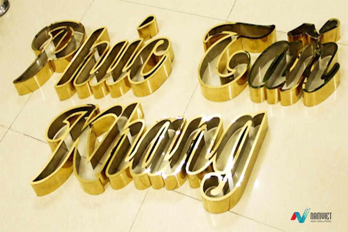 Biển hiệu chữ nổi inox vàng