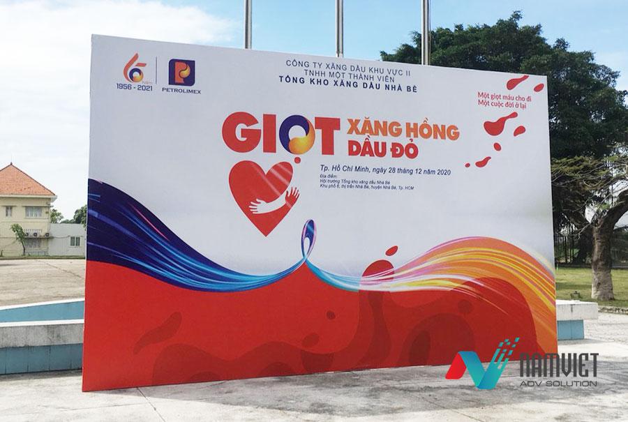 Thi công backdrop sự kiện hiến máu